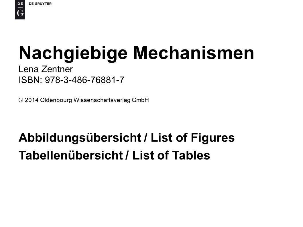 Nachgiebige Mechanismen Lena Zentner ISBN: 978-3-486-76881-7 © 2014 Oldenbourg Wissenschaftsverlag GmbH Abbildungsübersicht / List of Figures Tabellenübersicht / List of Tables