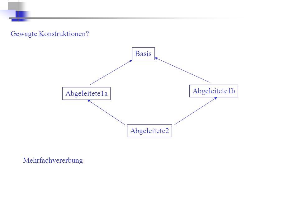 Gewagte Konstruktionen? Abgeleitete2 Basis Abgeleitete1a Abgeleitete1b Mehrfachvererbung