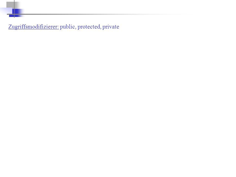 Zugriffsmodifizierer: public, protected, private