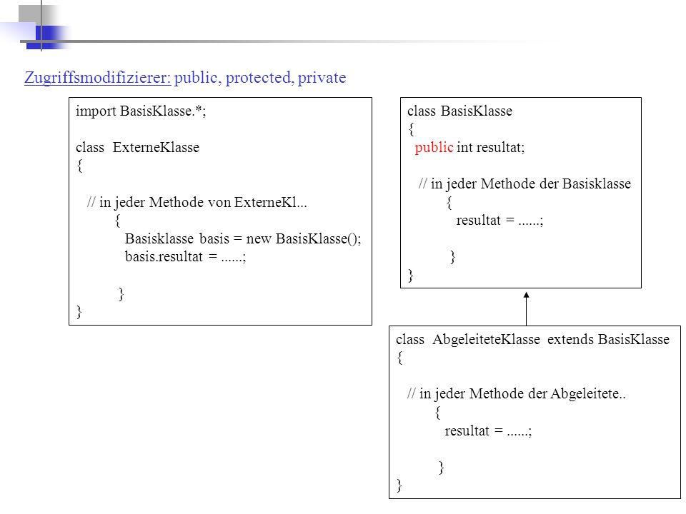 class BasisKlasse { public int resultat; // in jeder Methode der Basisklasse { resultat =......; } import BasisKlasse.*; class ExterneKlasse { // in jeder Methode von ExterneKl...