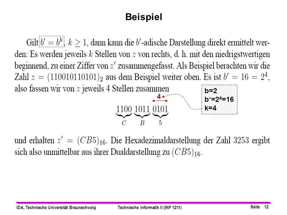 Seite 11 IDA, Technische Universität BraunschweigTechnische Informatik II (INF 1211) deren Basen Zweierpotenzen sind 1.Umwandeln aller Ziffern ins Bin