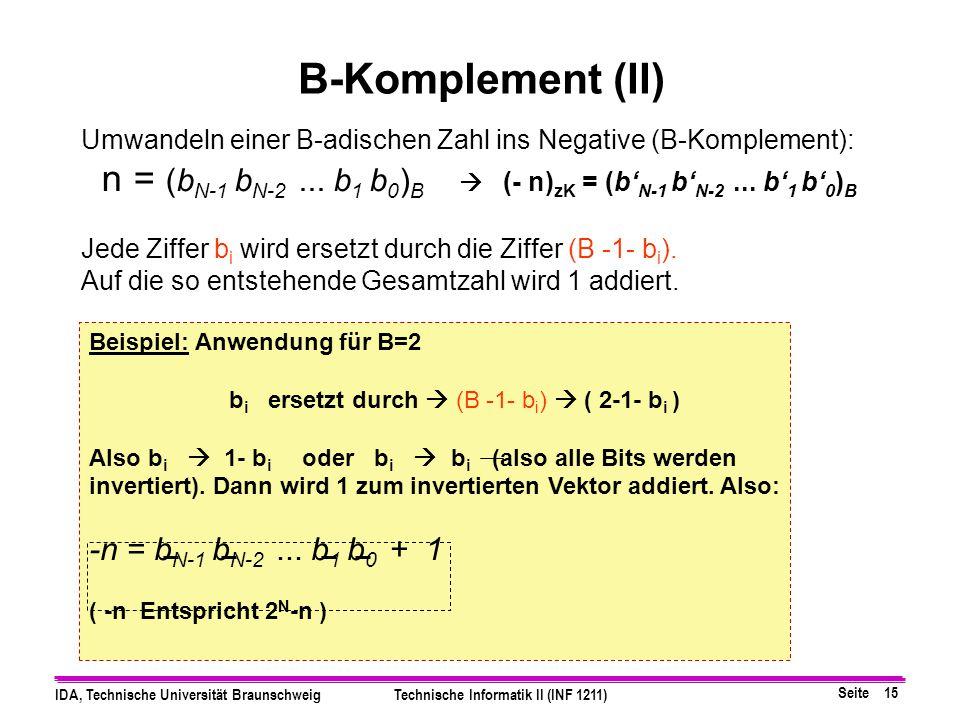 Seite 14 IDA, Technische Universität BraunschweigTechnische Informatik II (INF 1211) Definition: Sei n eine natürliche Zahl, dargestellt als N- stelli