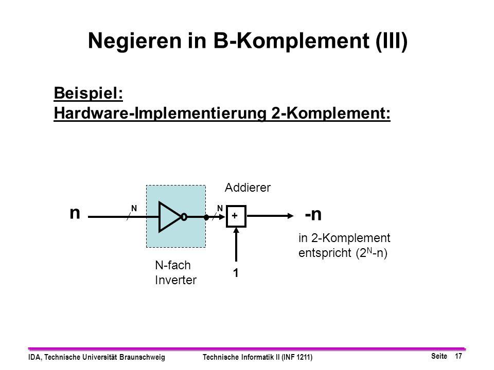 Seite 16 IDA, Technische Universität BraunschweigTechnische Informatik II (INF 1211) Beispiel: (B=2, N=8 Stellen), n=4 berechnen Sie -4 in 2-Komplemen