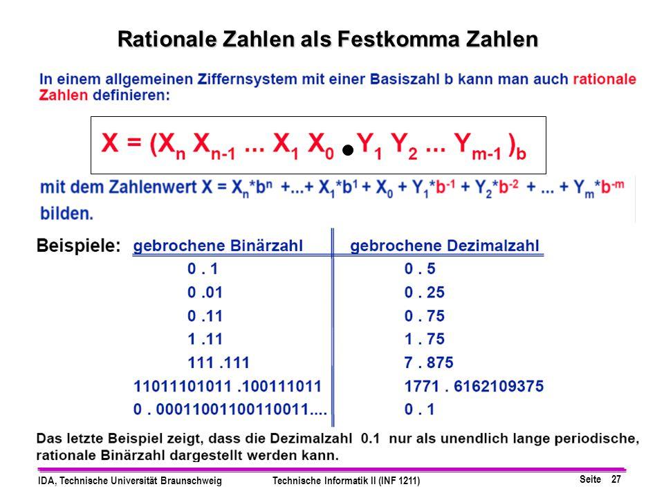 Seite 26 IDA, Technische Universität BraunschweigTechnische Informatik II (INF 1211) Multiplikation B-adischer Zahlen Beispiel 1: Beispiel 2: