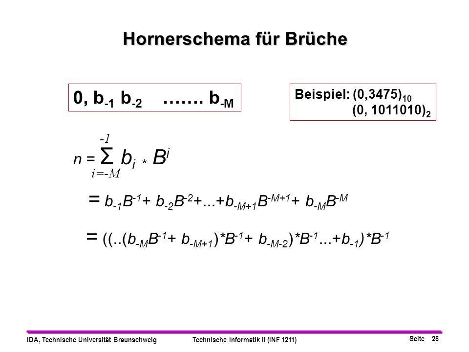 Seite 27 IDA, Technische Universität BraunschweigTechnische Informatik II (INF 1211) Rationale Zahlen als Festkomma Zahlen