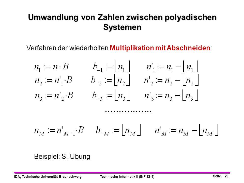 Seite 28 IDA, Technische Universität BraunschweigTechnische Informatik II (INF 1211) n = Σ b i * B i = b -1 B -1 + b -2 B -2 +...+b -M+1 B -M+1 + b -M