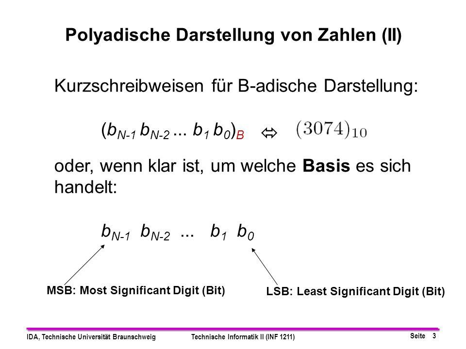 Seite 2 IDA, Technische Universität BraunschweigTechnische Informatik II (INF 1211) n = Σ b i * B i = b N-1 B N-1 + b N-2 B N-2 + ∙ ∙ ∙ + b 1 B 1 + b