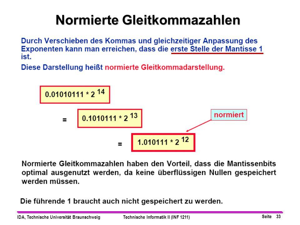 Seite 32 IDA, Technische Universität BraunschweigTechnische Informatik II (INF 1211) Gleitkommazahlen, Vorzeichen, Exponent und Mantisse