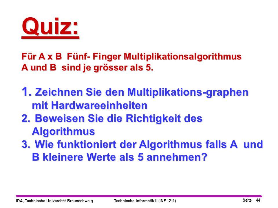 Seite 43 IDA, Technische Universität BraunschweigTechnische Informatik II (INF 1211) 2 3 + 3 x 2 = 6 + 56 5+1+1 5+1+1+1 3 1 + 2 x 4 = 8 + 48 5+1+1+1 5