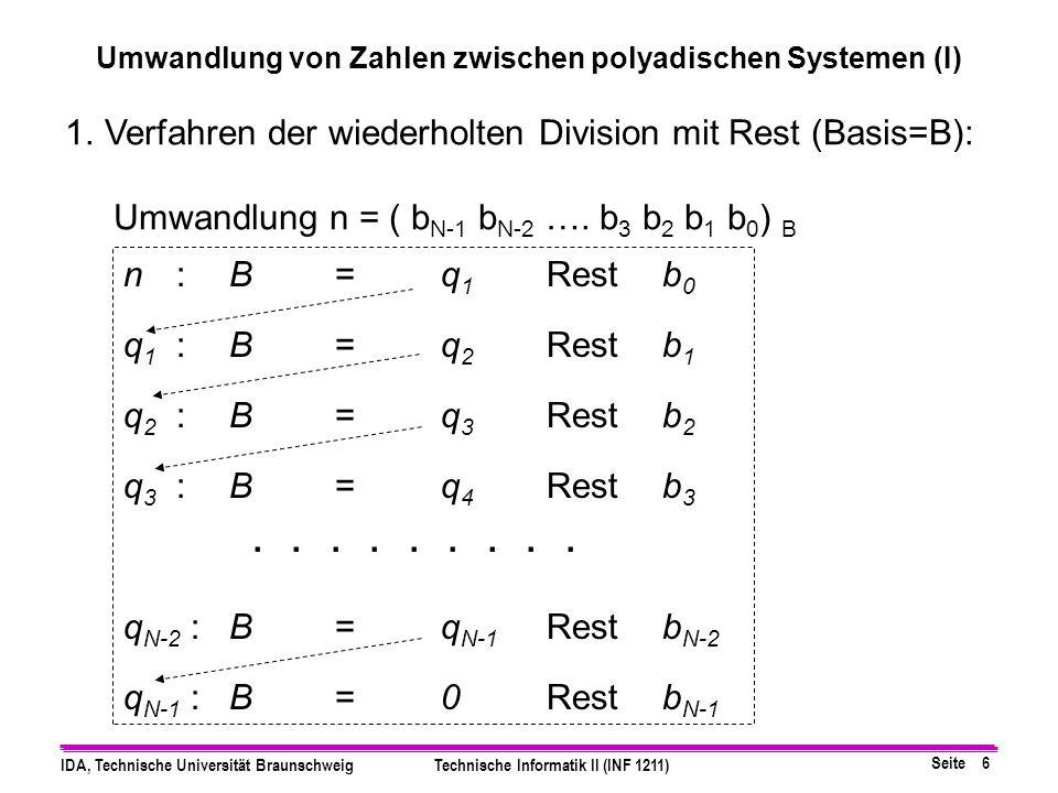 Seite 5 IDA, Technische Universität BraunschweigTechnische Informatik II (INF 1211) 1. Rechnen im Quellsystem: (x) B  (y) B' 1.Stelle die Basis B' de