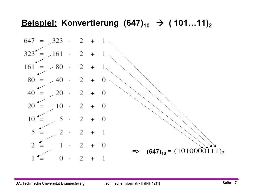 Seite 6 IDA, Technische Universität BraunschweigTechnische Informatik II (INF 1211) 1.Verfahren der wiederholten Division mit Rest (Basis=B): Umwandlu