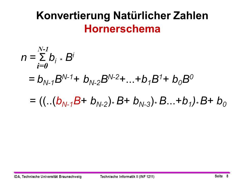 Seite 7 IDA, Technische Universität BraunschweigTechnische Informatik II (INF 1211) Beispiel: Konvertierung (647) 10  ( 101…11) 2 => (647) 10 =