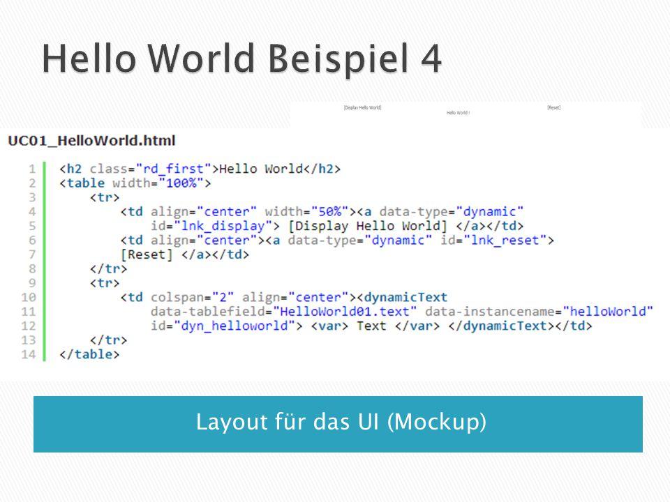 Layout für das UI (Mockup)