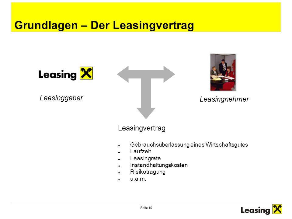 Seite 10 Grundlagen – Der Leasingvertrag Leasinggeber Leasingnehmer Leasingvertrag  Gebrauchsüberlassung eines Wirtschaftsgutes  Laufzeit  Leasingr