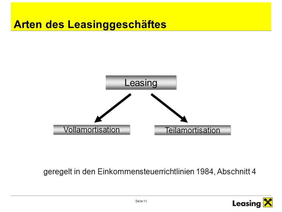 Seite 11 Arten des Leasinggeschäftes Leasing Vollamortisation Teilamortisation geregelt in den Einkommensteuerrichtlinien 1984, Abschnitt 4