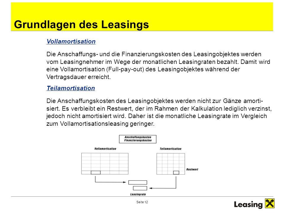 Seite 12 Grundlagen des Leasings Vollamortisation Die Anschaffungs- und die Finanzierungskosten des Leasingobjektes werden vom Leasingnehmer im Wege der monatlichen Leasingraten bezahlt.