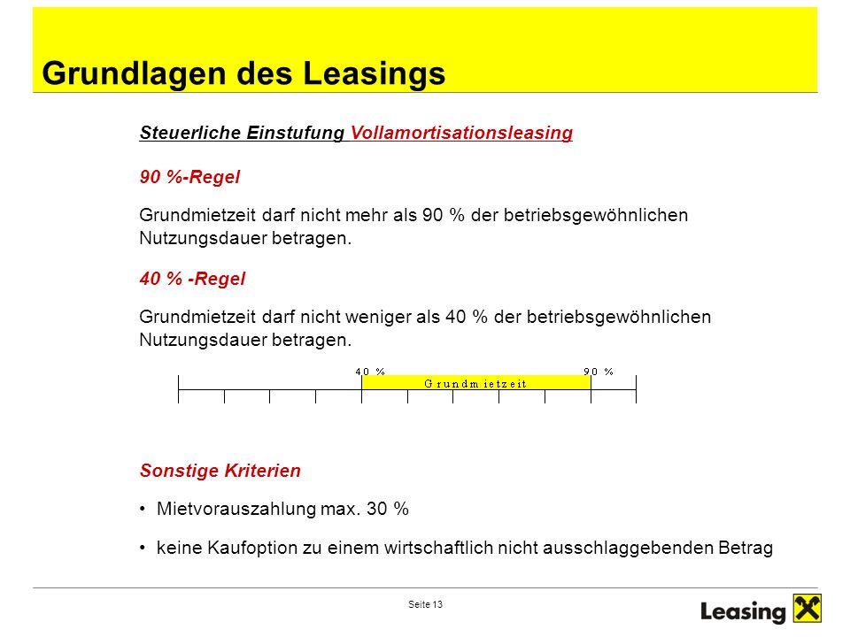 Seite 13 Grundlagen des Leasings Steuerliche Einstufung Vollamortisationsleasing 90 %-Regel Grundmietzeit darf nicht mehr als 90 % der betriebsgewöhnlichen Nutzungsdauer betragen.