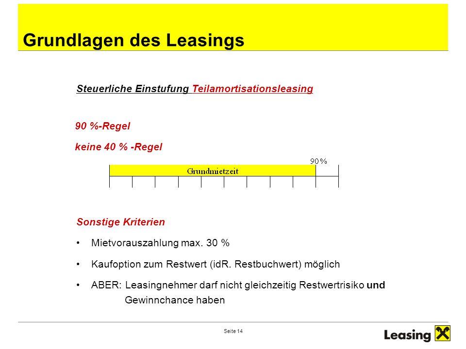 Seite 14 Grundlagen des Leasings Steuerliche Einstufung Teilamortisationsleasing 90 %-Regel keine 40 % -Regel Sonstige Kriterien Mietvorauszahlung max