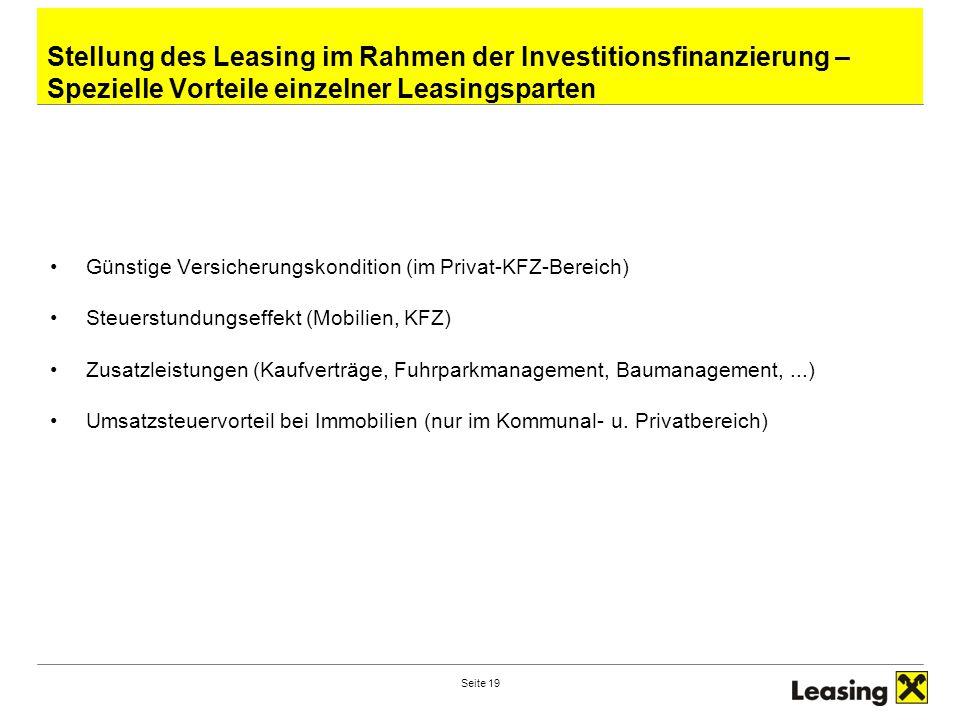 Seite 19 Stellung des Leasing im Rahmen der Investitionsfinanzierung – Spezielle Vorteile einzelner Leasingsparten Günstige Versicherungskondition (im