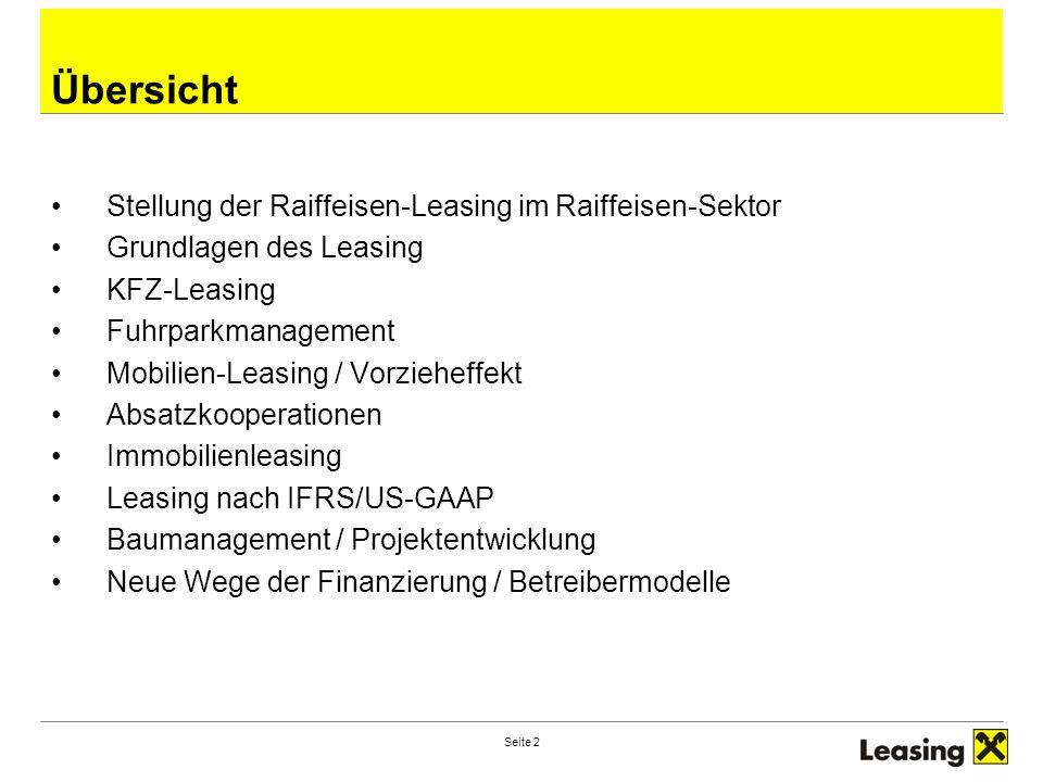 Seite 2 Übersicht Stellung der Raiffeisen-Leasing im Raiffeisen-Sektor Grundlagen des Leasing KFZ-Leasing Fuhrparkmanagement Mobilien-Leasing / Vorzieheffekt Absatzkooperationen Immobilienleasing Leasing nach IFRS/US-GAAP Baumanagement / Projektentwicklung Neue Wege der Finanzierung / Betreibermodelle