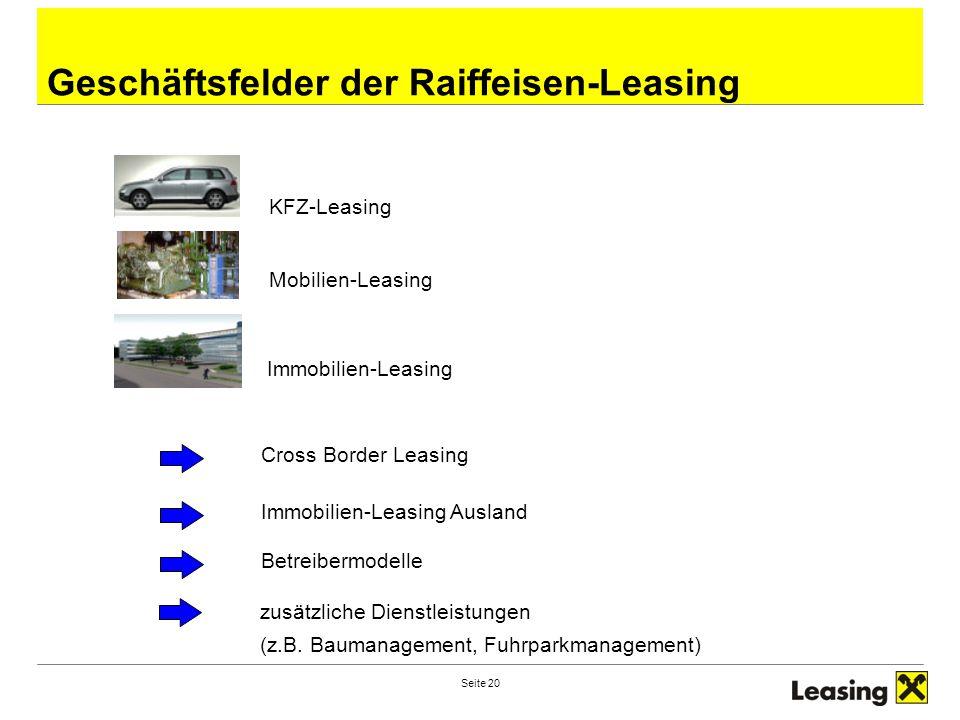 Seite 20 Geschäftsfelder der Raiffeisen-Leasing KFZ-Leasing Mobilien-Leasing Immobilien-Leasing Cross Border Leasing Immobilien-Leasing Ausland Betrei