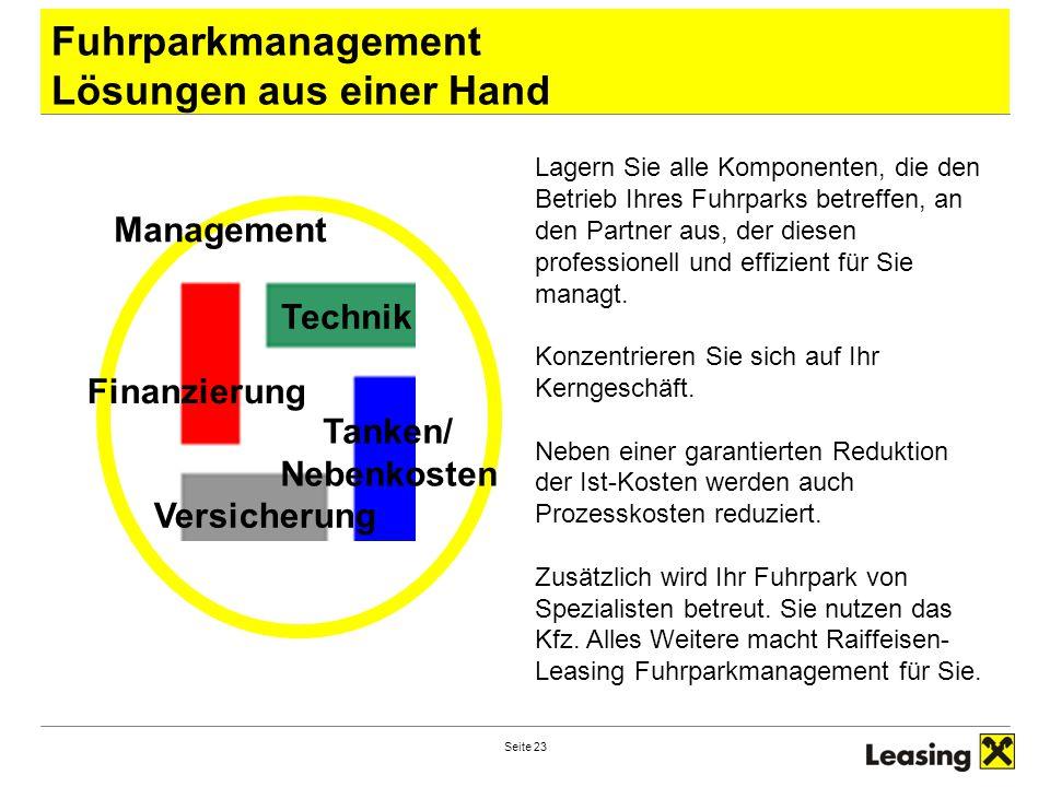Seite 23 Fuhrparkmanagement Lösungen aus einer Hand Technik Finanzierung Tanken/ Nebenkosten Versicherung Management Lagern Sie alle Komponenten, die den Betrieb Ihres Fuhrparks betreffen, an den Partner aus, der diesen professionell und effizient für Sie managt.