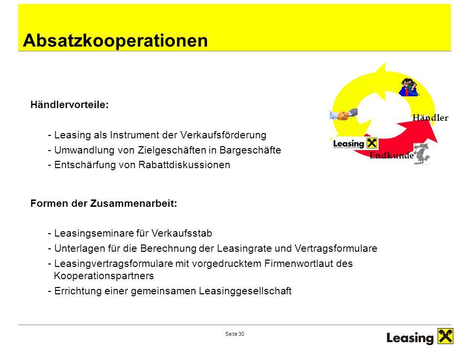 Seite 30 Absatzkooperationen Endkunde Händler Händlervorteile: - Leasing als Instrument der Verkaufsförderung - Umwandlung von Zielgeschäften in Barge