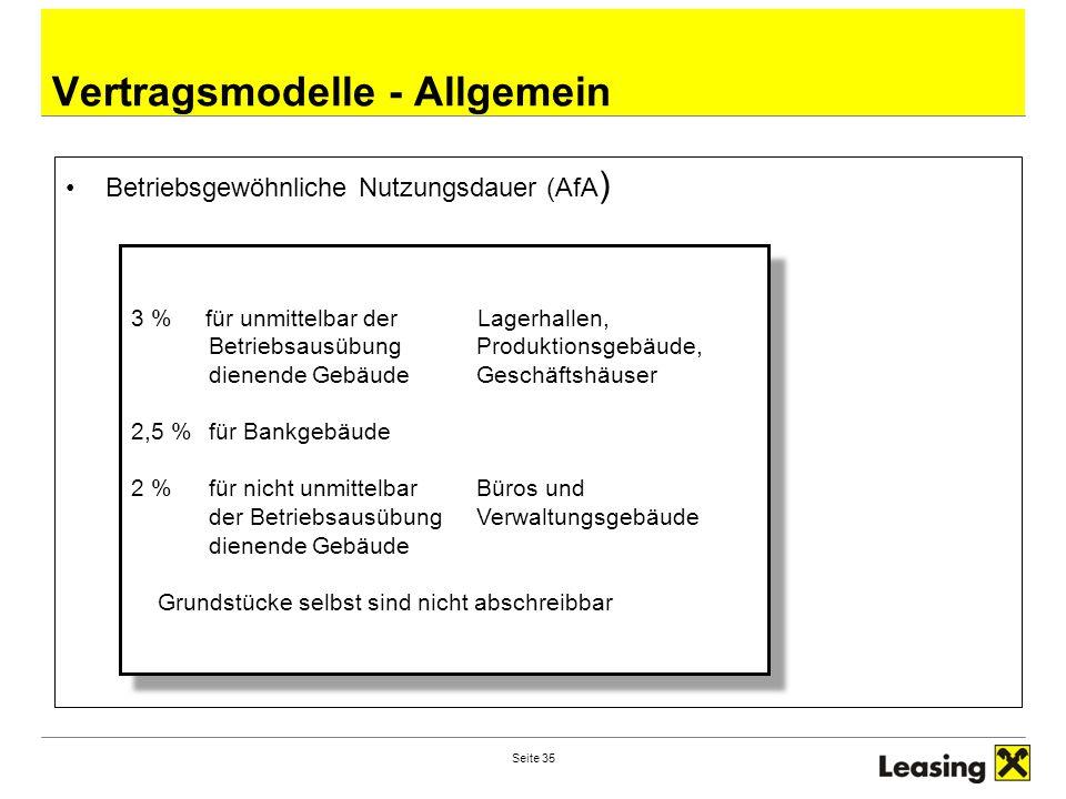 Seite 35 Vertragsmodelle - Allgemein Betriebsgewöhnliche Nutzungsdauer (AfA ) 3 % für unmittelbar der Lagerhallen, BetriebsausübungProduktionsgebäude,