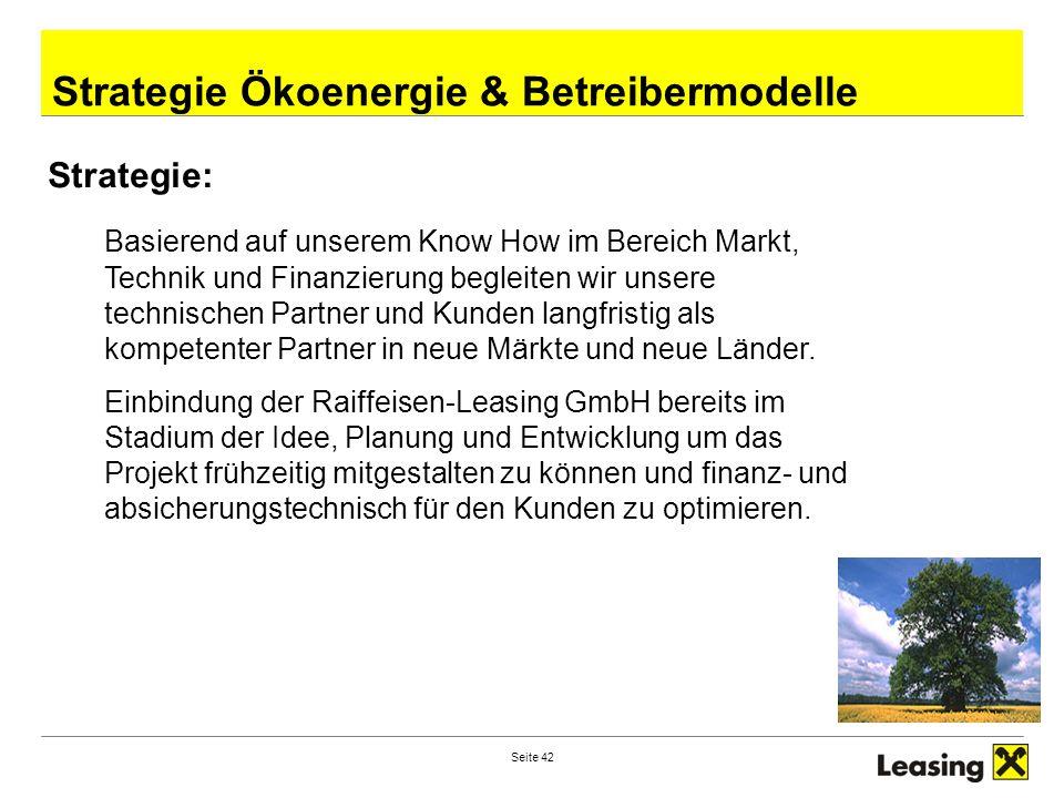 Seite 42 RZB–Ihr Partner in M&OE Strategie Ökoenergie & Betreibermodelle Strategie: Basierend auf unserem Know How im Bereich Markt, Technik und Finan