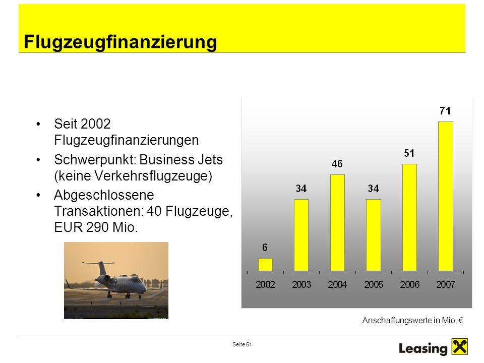 Seite 51 Flugzeugfinanzierung Seit 2002 Flugzeugfinanzierungen Schwerpunkt: Business Jets (keine Verkehrsflugzeuge) Abgeschlossene Transaktionen: 40 Flugzeuge, EUR 290 Mio.