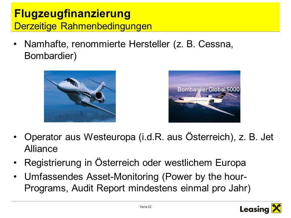 Seite 52 Flugzeugfinanzierung Derzeitige Rahmenbedingungen Namhafte, renommierte Hersteller (z. B. Cessna, Bombardier) Operator aus Westeuropa (i.d.R.