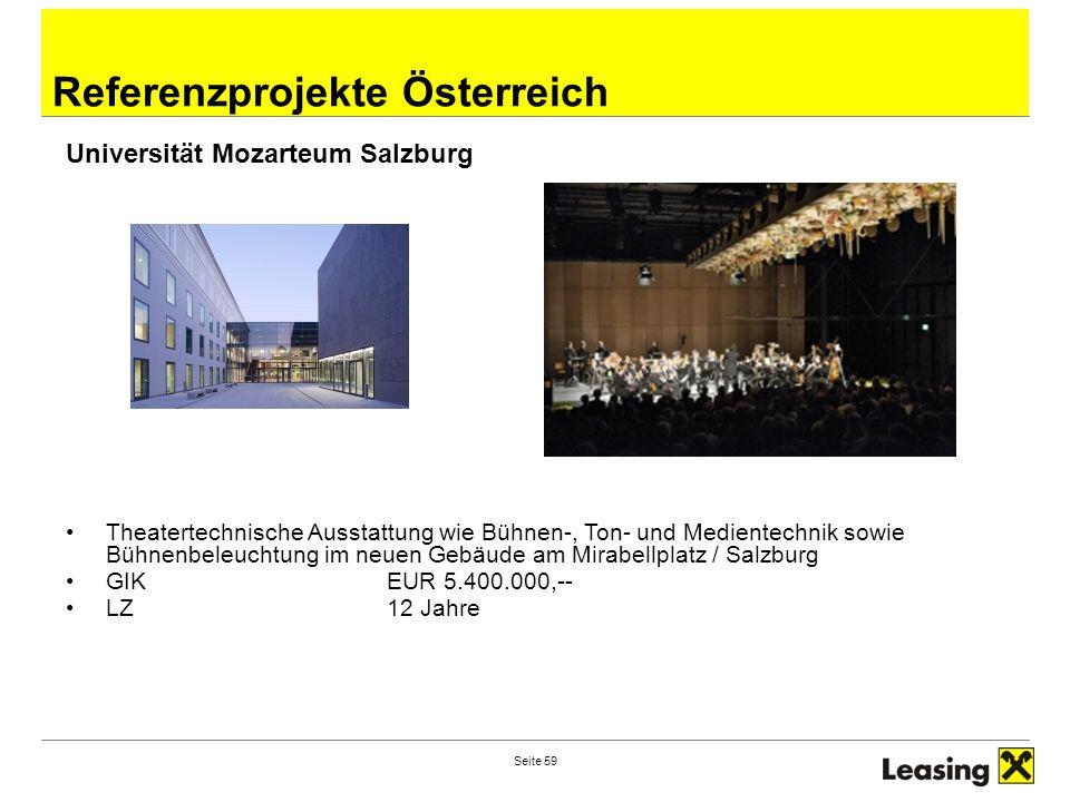Seite 59 Theatertechnische Ausstattung wie Bühnen-, Ton- und Medientechnik sowie Bühnenbeleuchtung im neuen Gebäude am Mirabellplatz / Salzburg GIK EU
