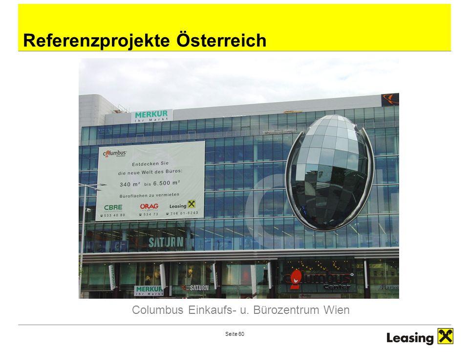 Seite 60 Referenzprojekte Österreich Columbus Einkaufs- u. Bürozentrum Wien