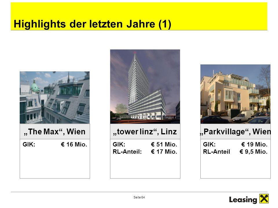 """Seite 64 Highlights der letzten Jahre (1) GIK: € 16 Mio. """"The Max"""", Wien """"tower linz"""", Linz GIK: € 51 Mio. RL-Anteil: € 17 Mio. """"Parkvillage"""", Wien GI"""
