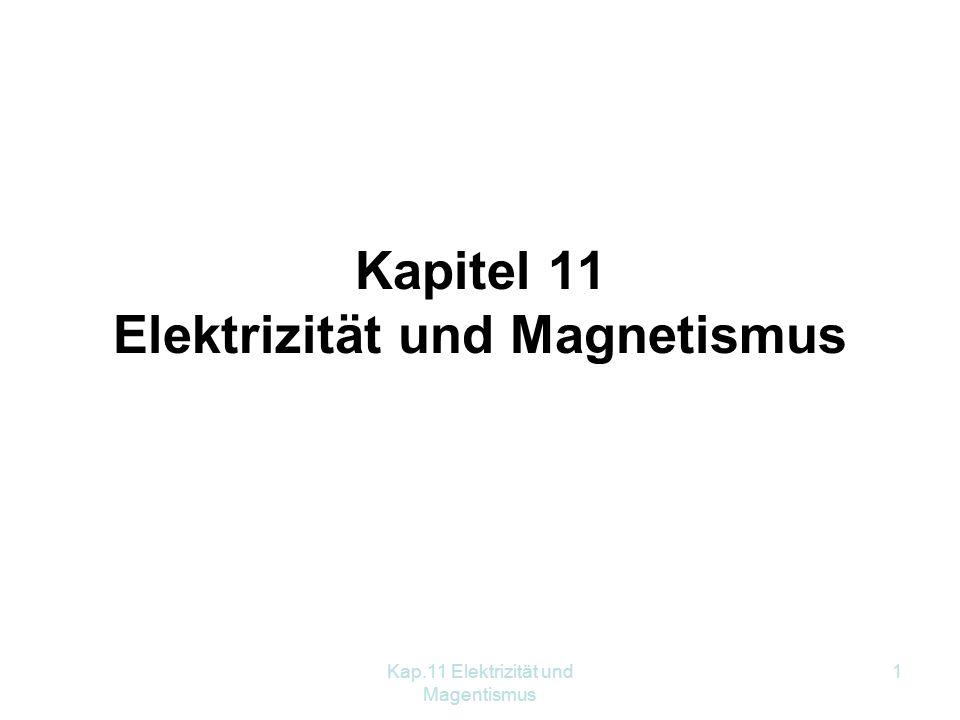 Kap.11 Elektrizität und Magentismus 32 11.4.5 Der Elektromotor Versuch: Leiterschaukel Ergebnis: Auf einen stromdurchflossenen Leiter, der sich in einem Magnetfeld befindet, wirkt eine Kraft.
