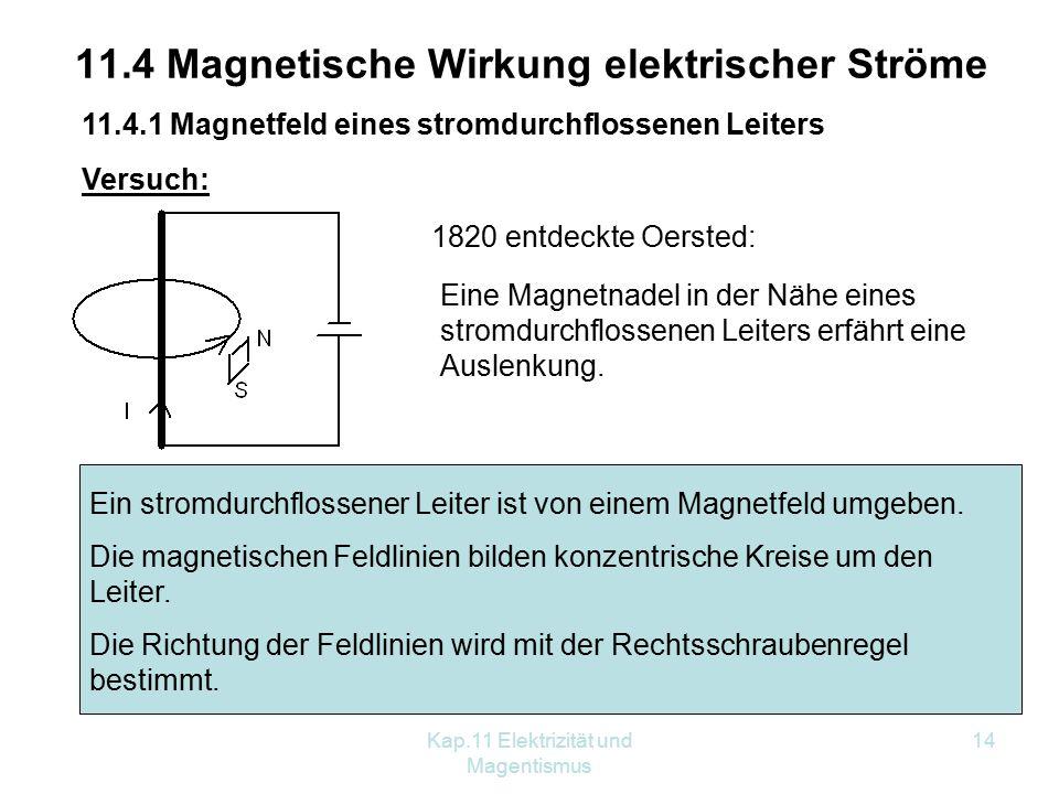 Kap.11 Elektrizität und Magentismus 14 11.4 Magnetische Wirkung elektrischer Ströme 11.4.1 Magnetfeld eines stromdurchflossenen Leiters Versuch: 1820 entdeckte Oersted: Eine Magnetnadel in der Nähe eines stromdurchflossenen Leiters erfährt eine Auslenkung.