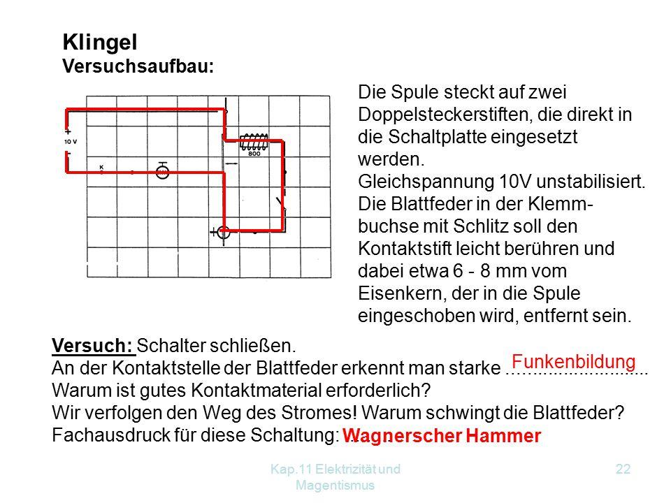 Kap.11 Elektrizität und Magentismus 22 Klingel Versuchsaufbau: Die Spule steckt auf zwei Doppelsteckerstiften, die direkt in die Schaltplatte eingeset