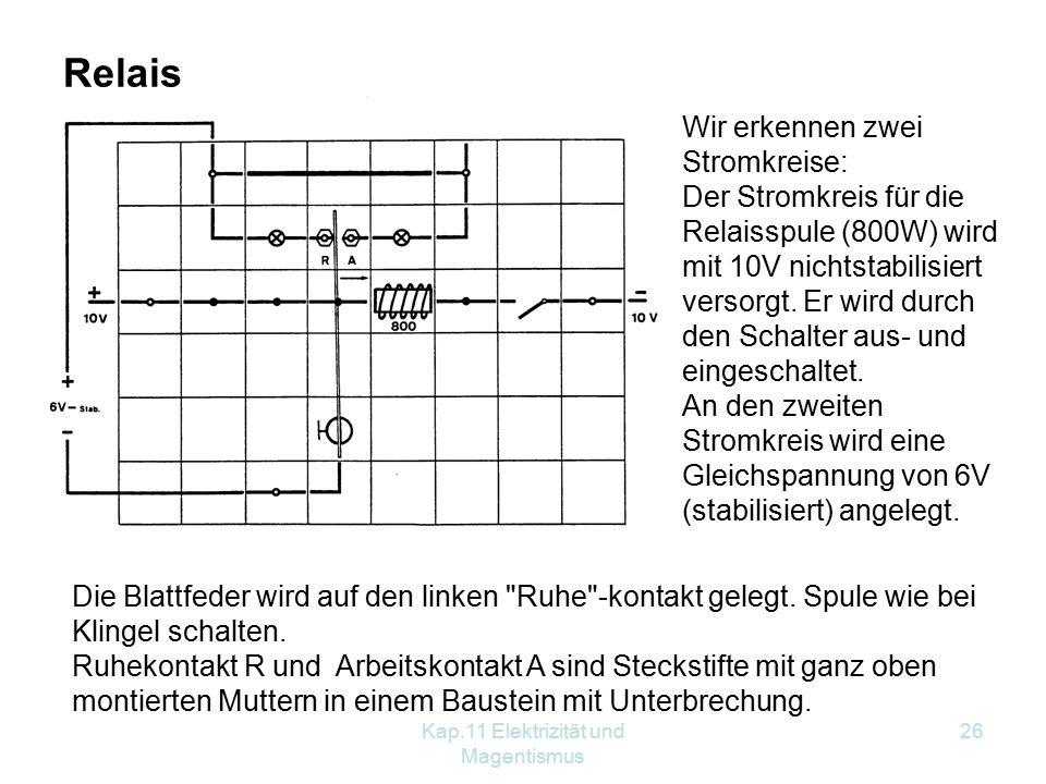 Kap.11 Elektrizität und Magentismus 26 Relais Wir erkennen zwei Stromkreise: Der Stromkreis für die Relaisspule (800W) wird mit 10V nichtstabilisiert versorgt.