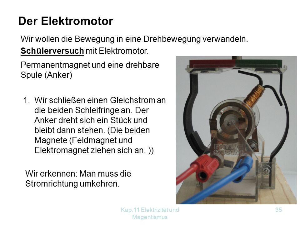 Kap.11 Elektrizität und Magentismus 35 Der Elektromotor Wir wollen die Bewegung in eine Drehbewegung verwandeln. Schülerversuch mit Elektromotor. Perm