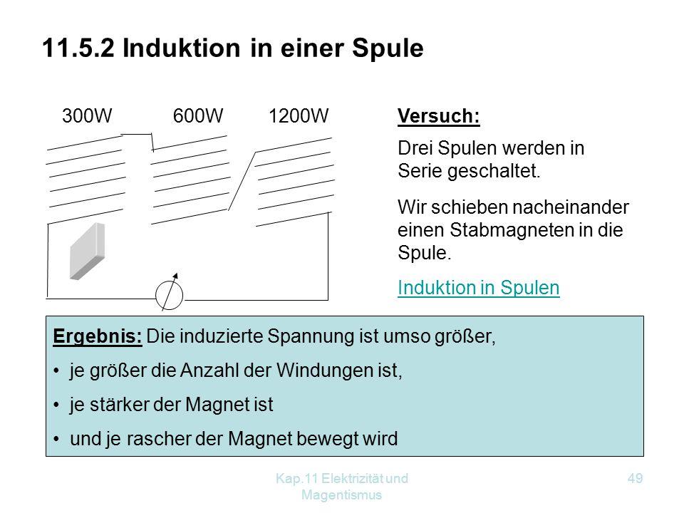 Kap.11 Elektrizität und Magentismus 49 300W600W 1200W 11.5.2 Induktion in einer Spule Versuch: Drei Spulen werden in Serie geschaltet. Wir schieben na