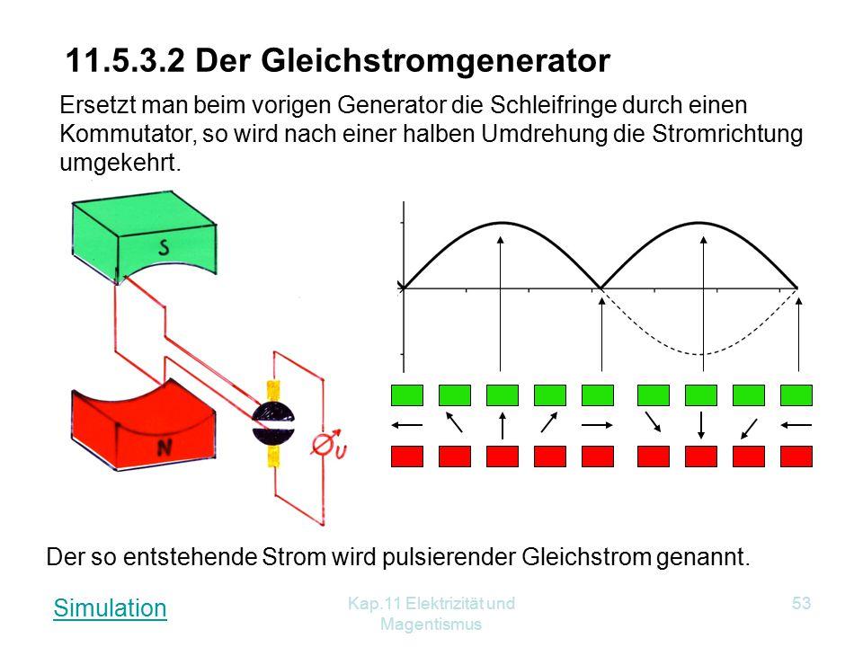 Kap.11 Elektrizität und Magentismus 53 11.5.3.2 Der Gleichstromgenerator Der so entstehende Strom wird pulsierender Gleichstrom genannt. Ersetzt man b