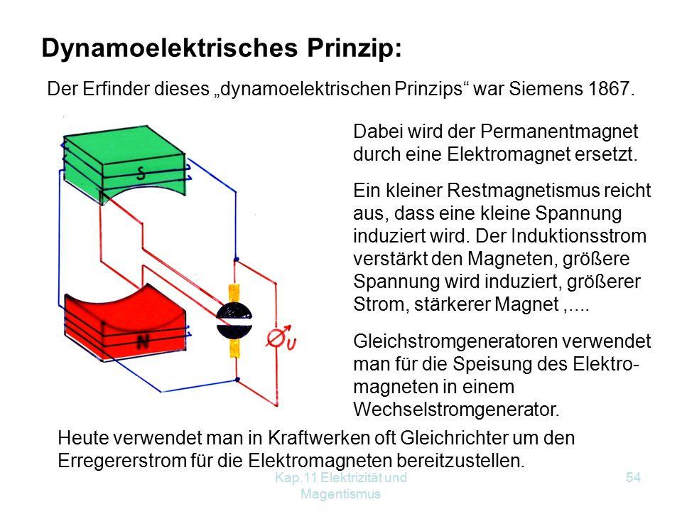 Kap.11 Elektrizität und Magentismus 54 Dynamoelektrisches Prinzip: Ein kleiner Restmagnetismus reicht aus, dass eine kleine Spannung induziert wird. D