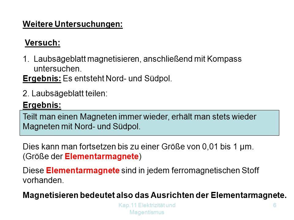 Kap.11 Elektrizität und Magentismus 6 Weitere Untersuchungen: Versuch: 1.Laubsägeblatt magnetisieren, anschließend mit Kompass untersuchen. Ergebnis: