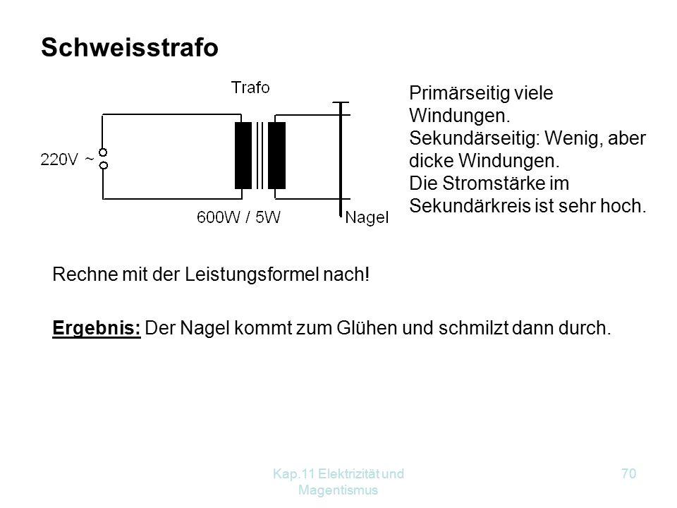 Kap.11 Elektrizität und Magentismus 70 Schweisstrafo Primärseitig viele Windungen.