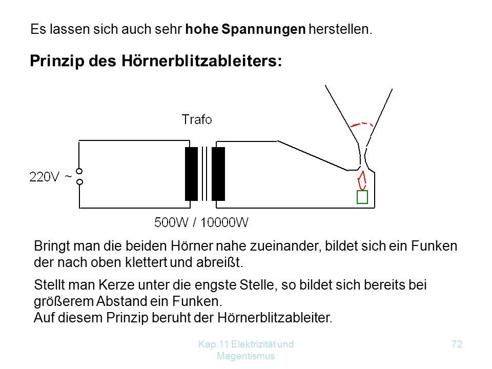 Kap.11 Elektrizität und Magentismus 72 Prinzip des Hörnerblitzableiters: Es lassen sich auch sehr hohe Spannungen herstellen. Bringt man die beiden Hö