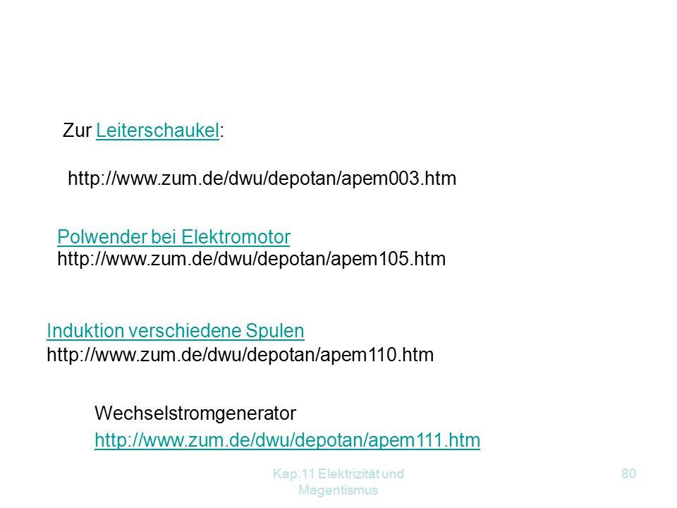 Kap.11 Elektrizität und Magentismus 80 http://www.zum.de/dwu/depotan/apem111.htm Wechselstromgenerator http://www.zum.de/dwu/depotan/apem003.htm Zur Leiterschaukel:Leiterschaukel http://www.zum.de/dwu/depotan/apem105.htm Polwender bei Elektromotor http://www.zum.de/dwu/depotan/apem110.htm Induktion verschiedene Spulen