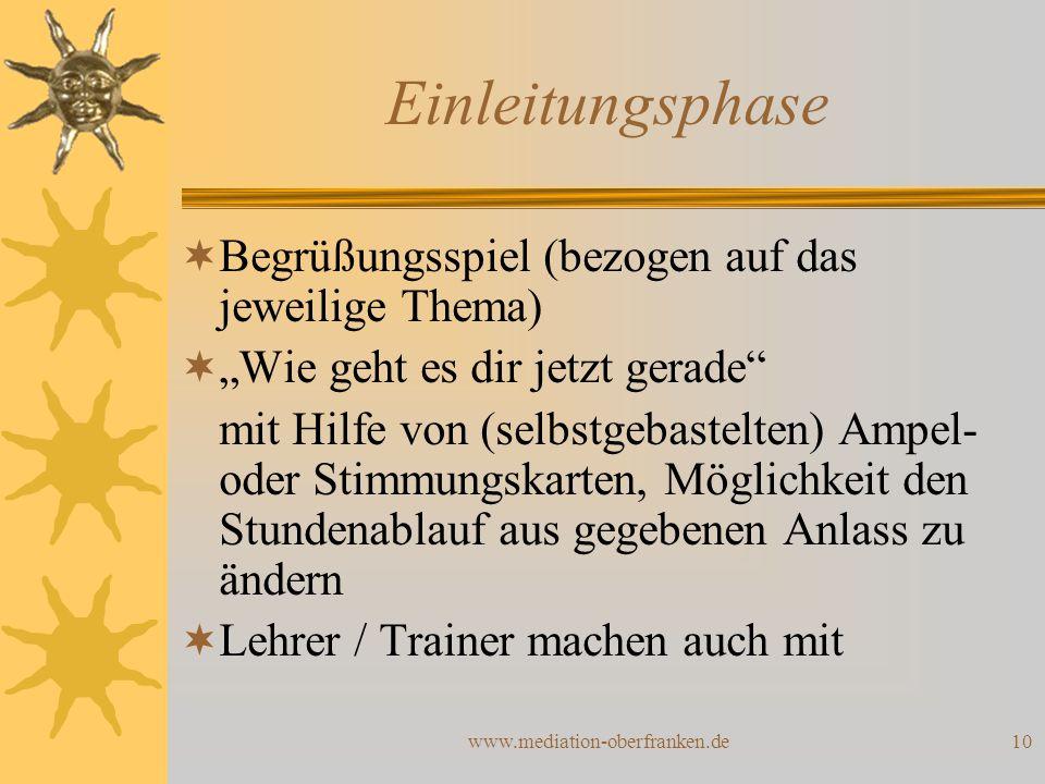 """www.mediation-oberfranken.de10 Einleitungsphase  Begrüßungsspiel (bezogen auf das jeweilige Thema)  """"Wie geht es dir jetzt gerade"""" mit Hilfe von (se"""