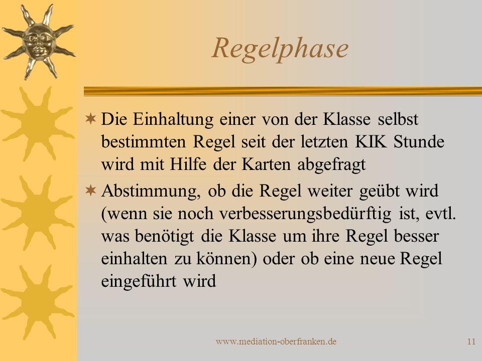 www.mediation-oberfranken.de11 Regelphase  Die Einhaltung einer von der Klasse selbst bestimmten Regel seit der letzten KIK Stunde wird mit Hilfe der