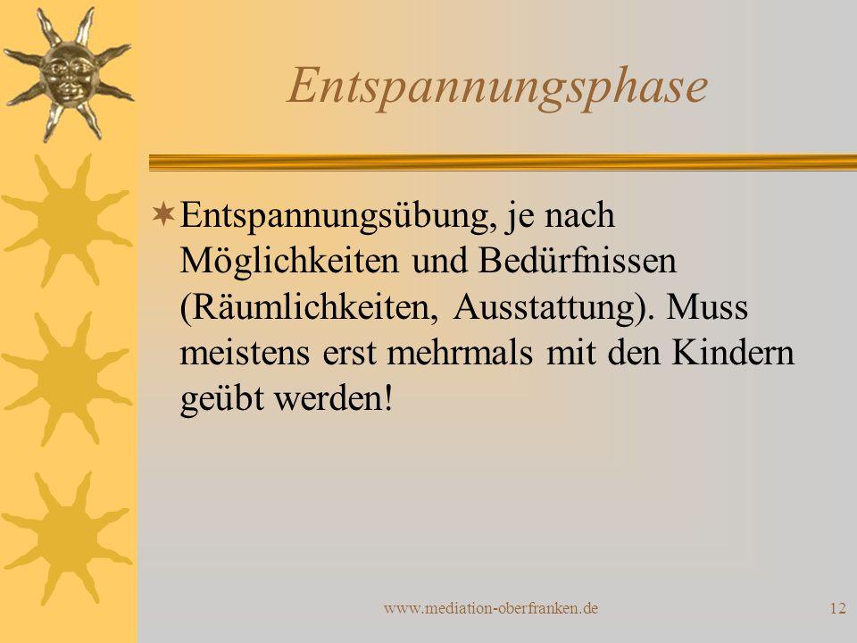 www.mediation-oberfranken.de12 Entspannungsphase  Entspannungsübung, je nach Möglichkeiten und Bedürfnissen (Räumlichkeiten, Ausstattung). Muss meist