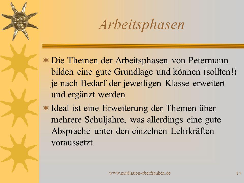www.mediation-oberfranken.de14 Arbeitsphasen  Die Themen der Arbeitsphasen von Petermann bilden eine gute Grundlage und können (sollten!) je nach Bed